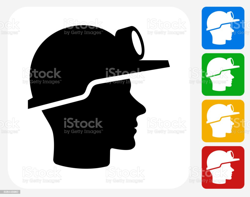 Miner Face Icon Flat Graphic Design vector art illustration