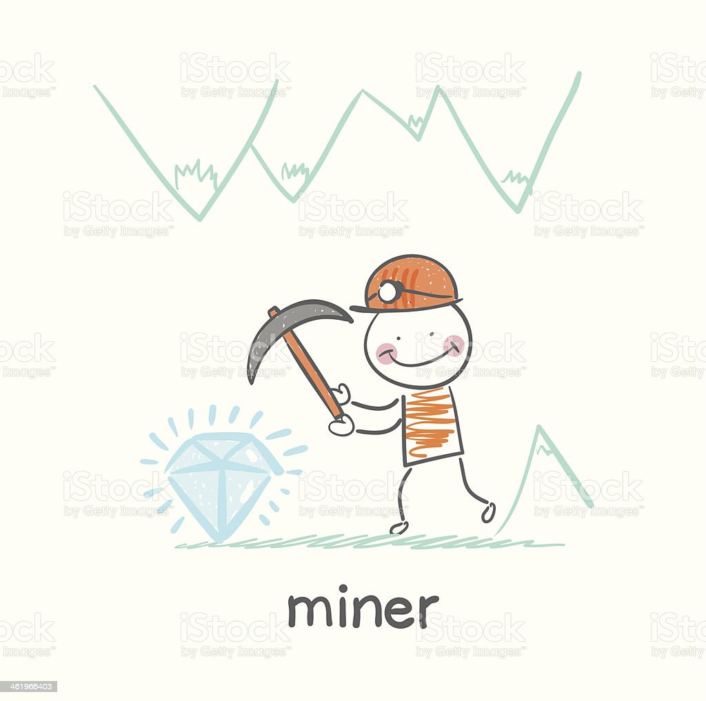 miner found a gem vector art illustration