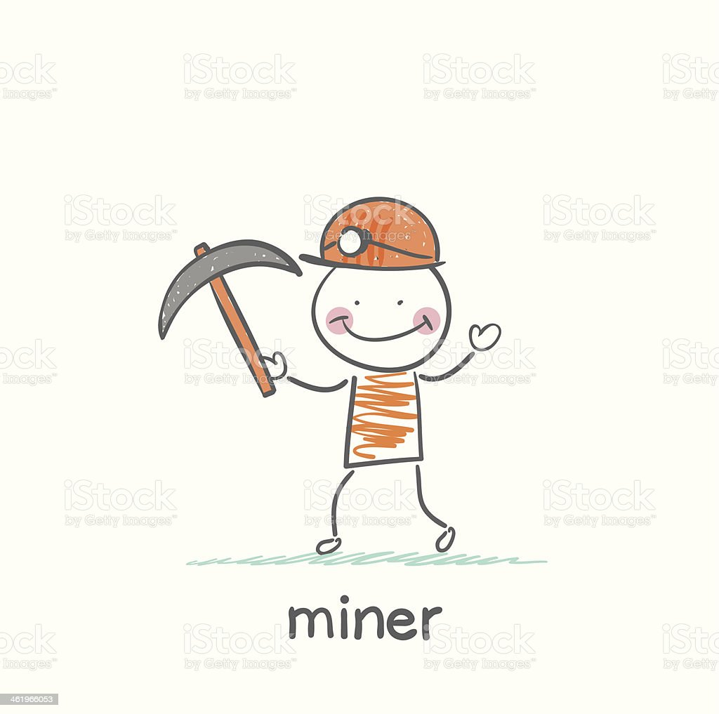 miner holding a pickaxe vector art illustration