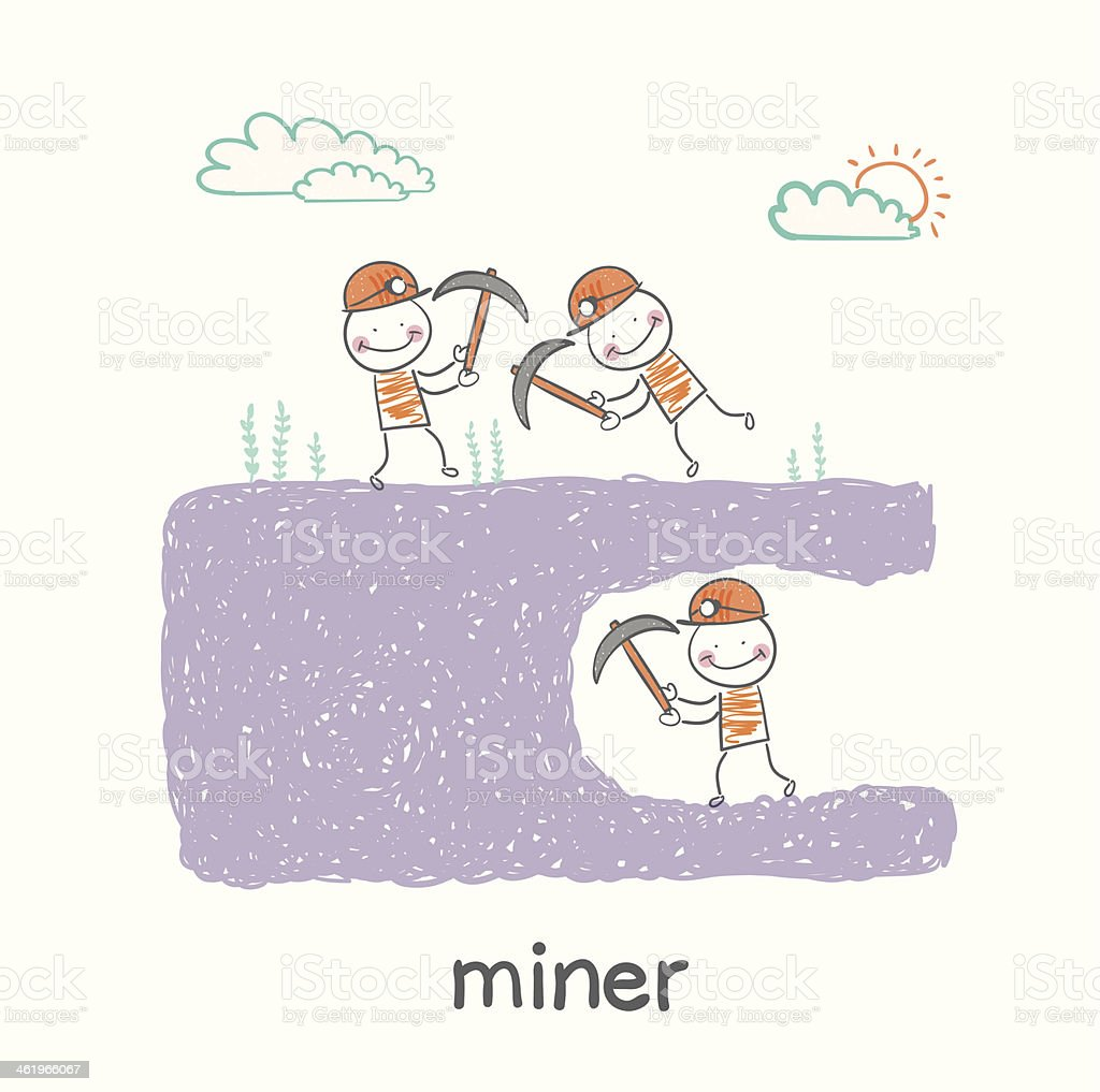 miner looking minetaly vector art illustration