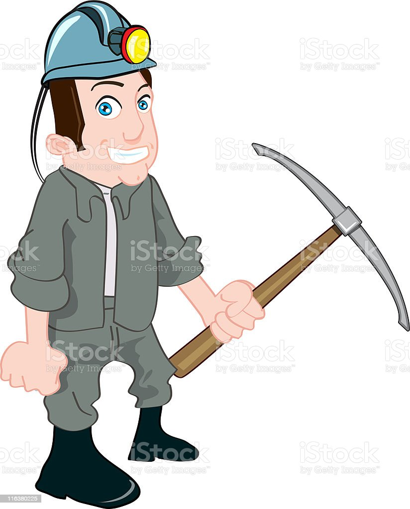 Miner with a pickax royalty-free stock vector art
