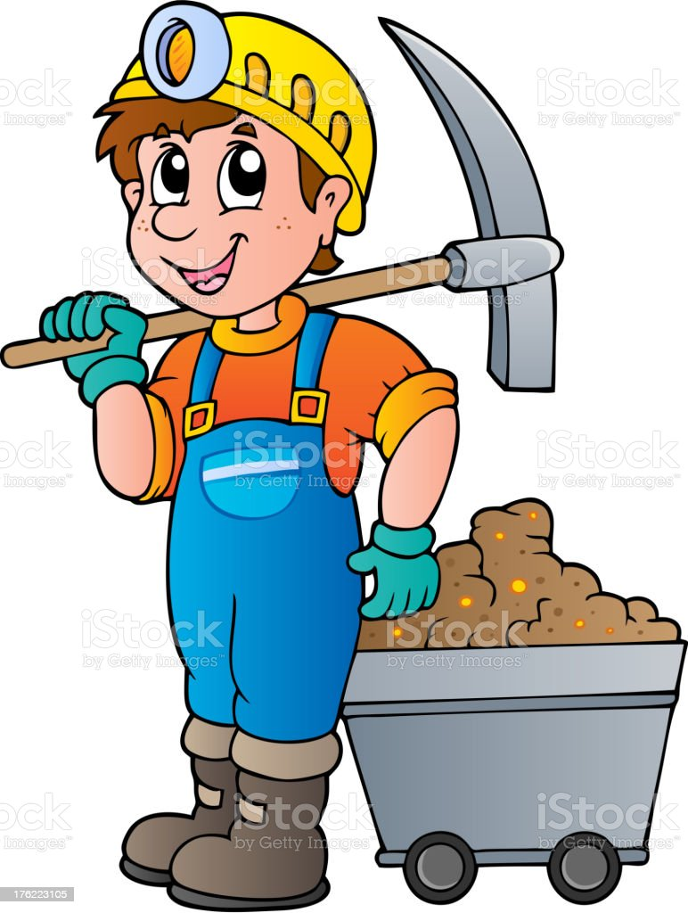 Miner with pickaxe and cart royalty-free stock vector art