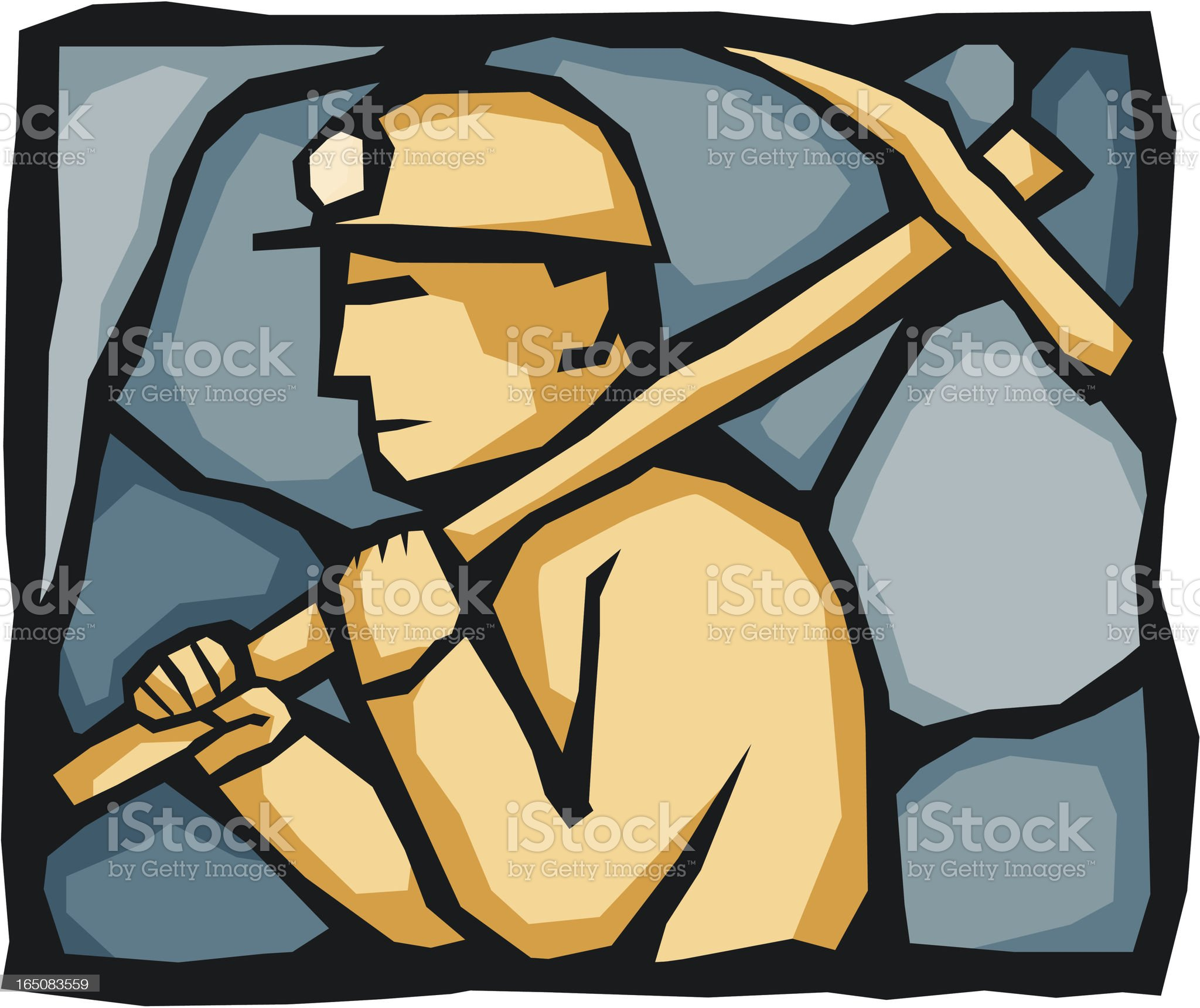 Miner with Pickaxe number 2 royalty-free stock vector art