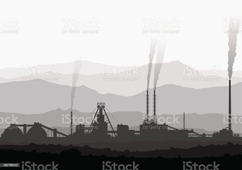 Mineral fertilizers plant over huge mountains. vector art illustration