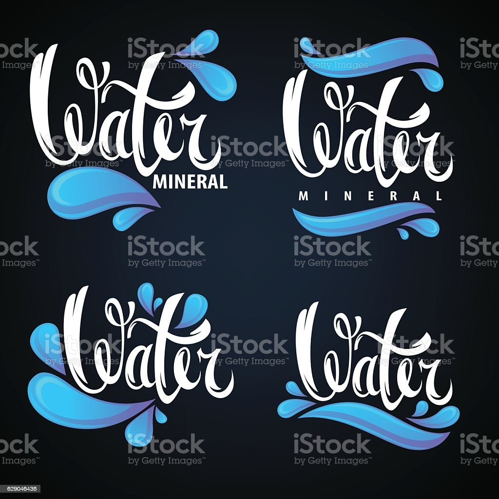 mineral water, lettering composition, labels and stickers vector art illustration