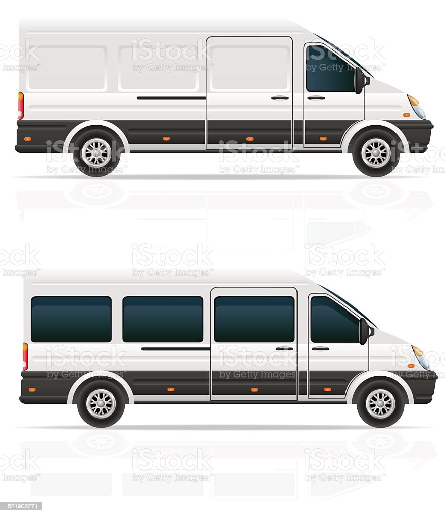 mini bus for the carriage of cargo and passengers vector art illustration