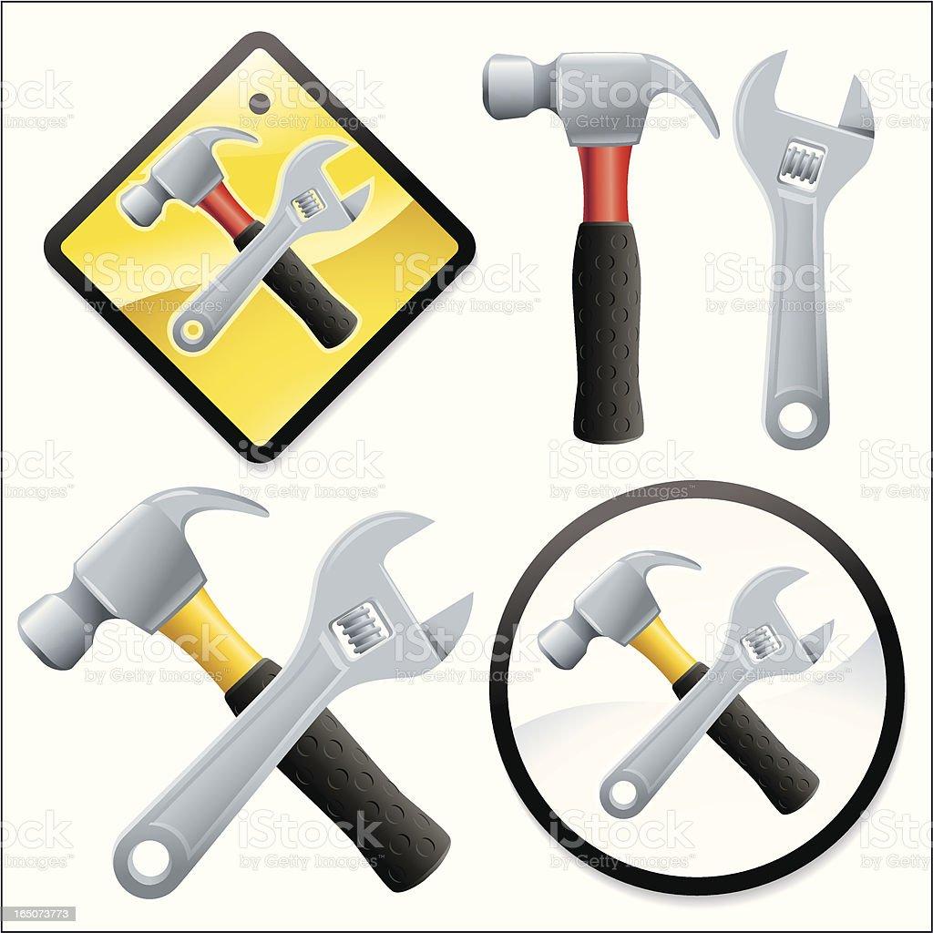 Mini Crossed Hammer royalty-free stock vector art