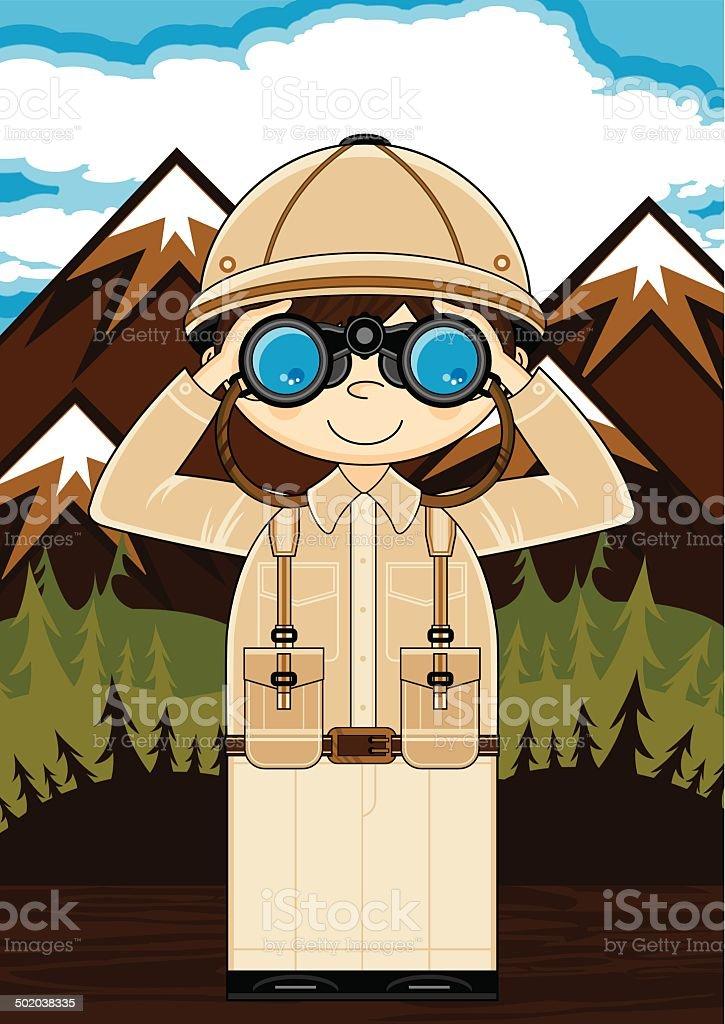Mini Explorer with Binoculars Scene royalty-free stock vector art
