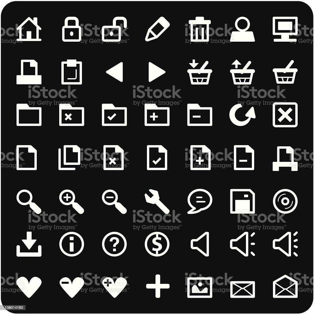 Mini Interface Icon Set - White royalty-free stock vector art