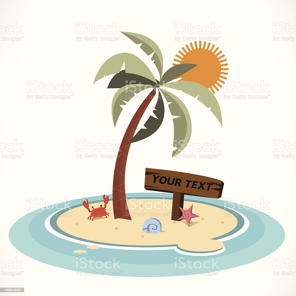 mini island and coconut tree vector illustration stock vector art