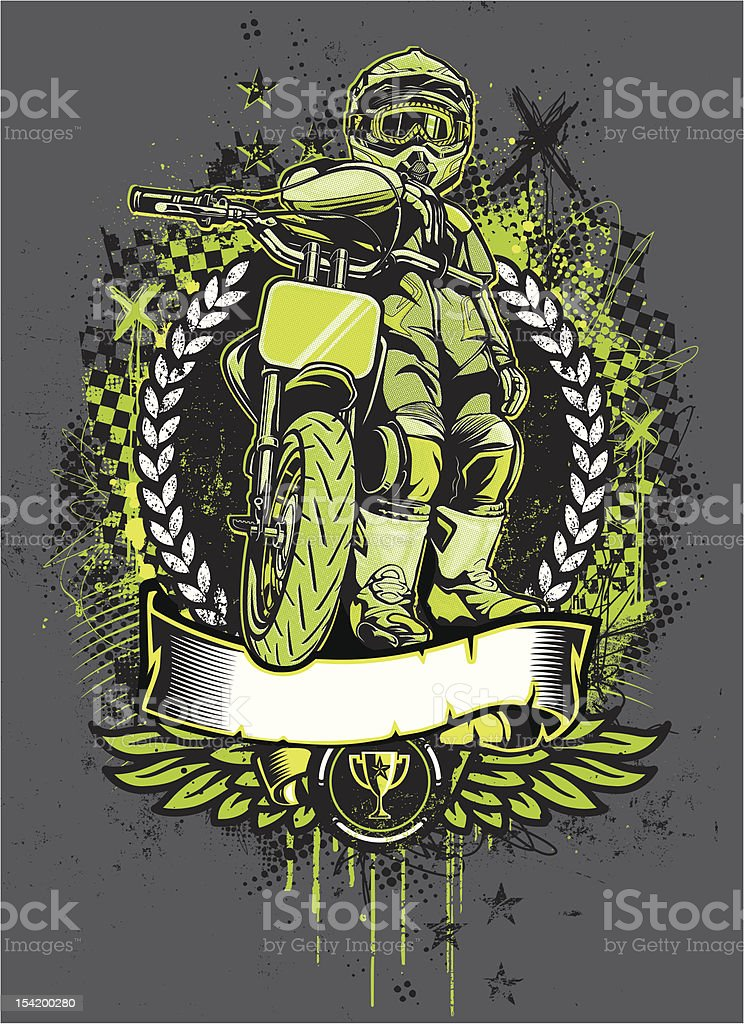 Mini Motard Racer: Stare Down Pose - Grunge Version vector art illustration