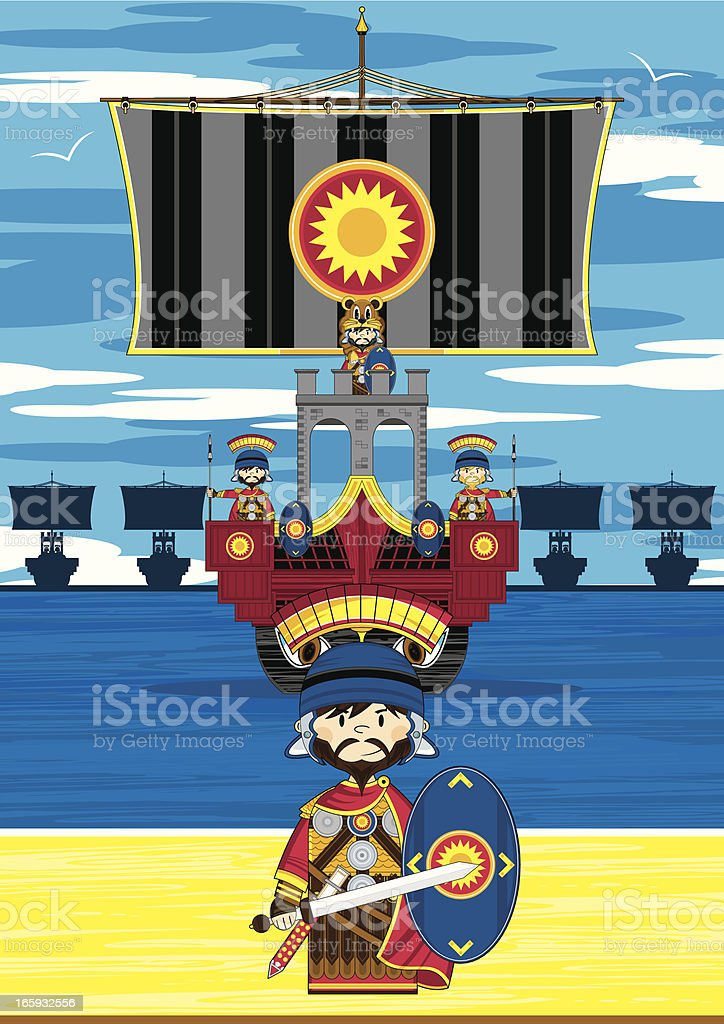 Mini Roman Soldier and Ship Scene royalty-free stock vector art