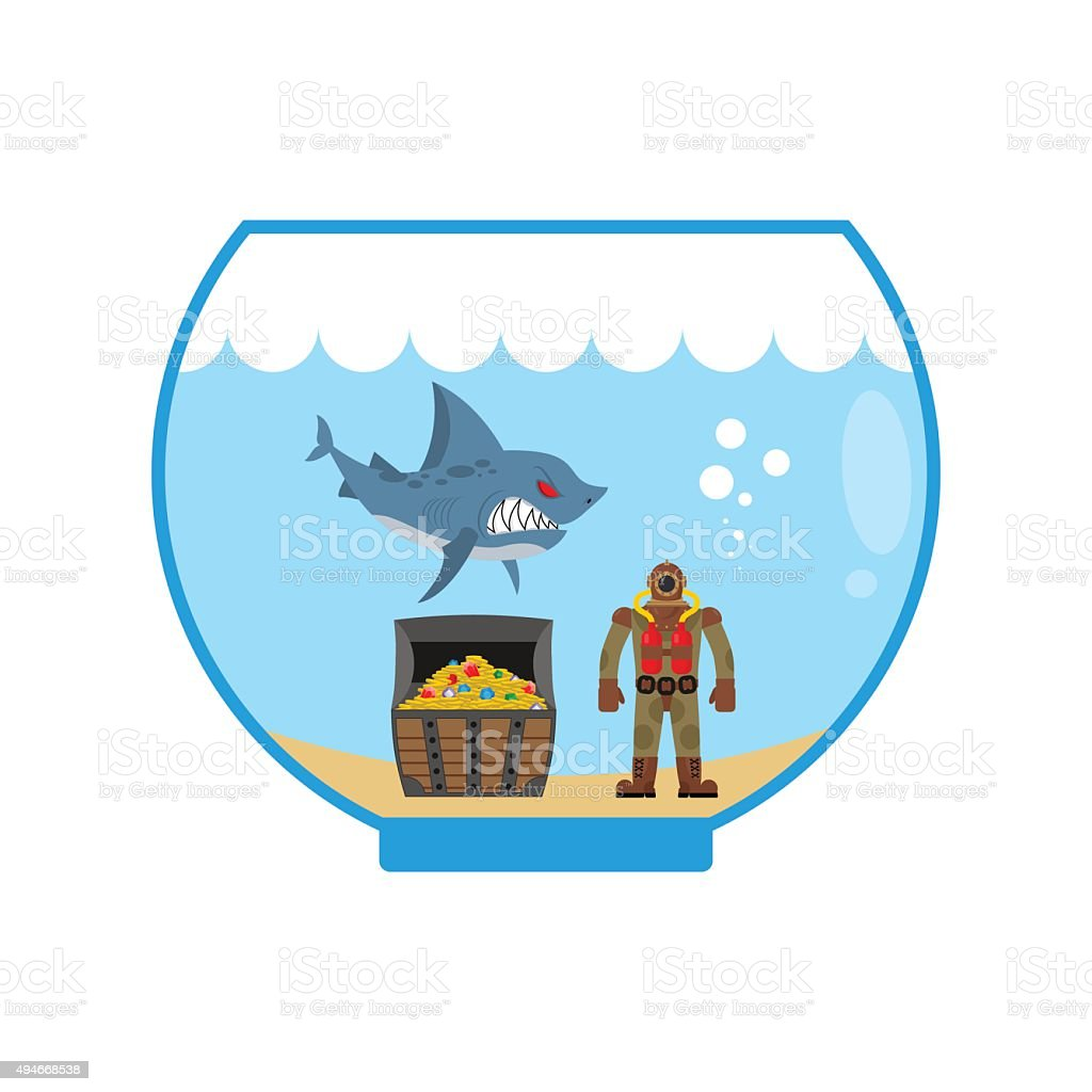 Mini shark in  Aquarium and  treasure chest. Scuba diver vector art illustration