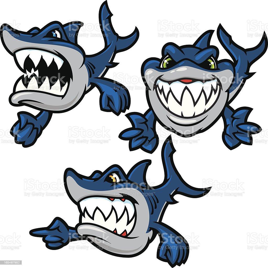 Mini Sharks vector art illustration