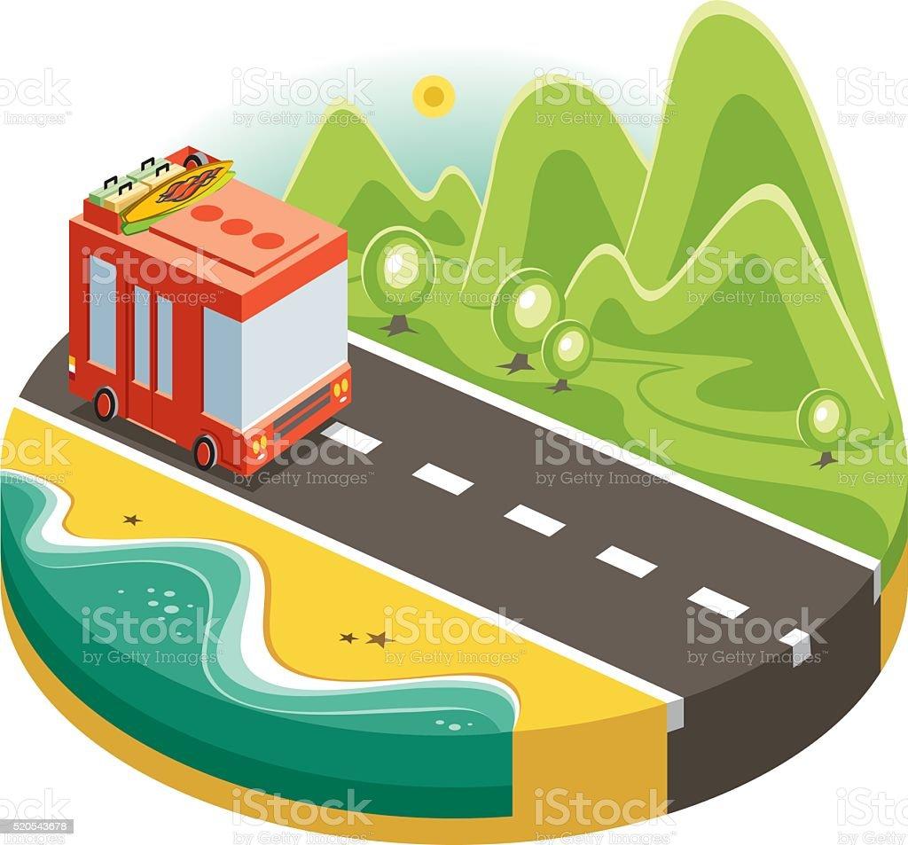 minibus and landscape vector art illustration