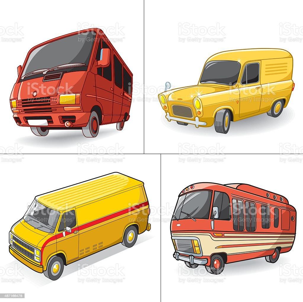 minibus set vector art illustration