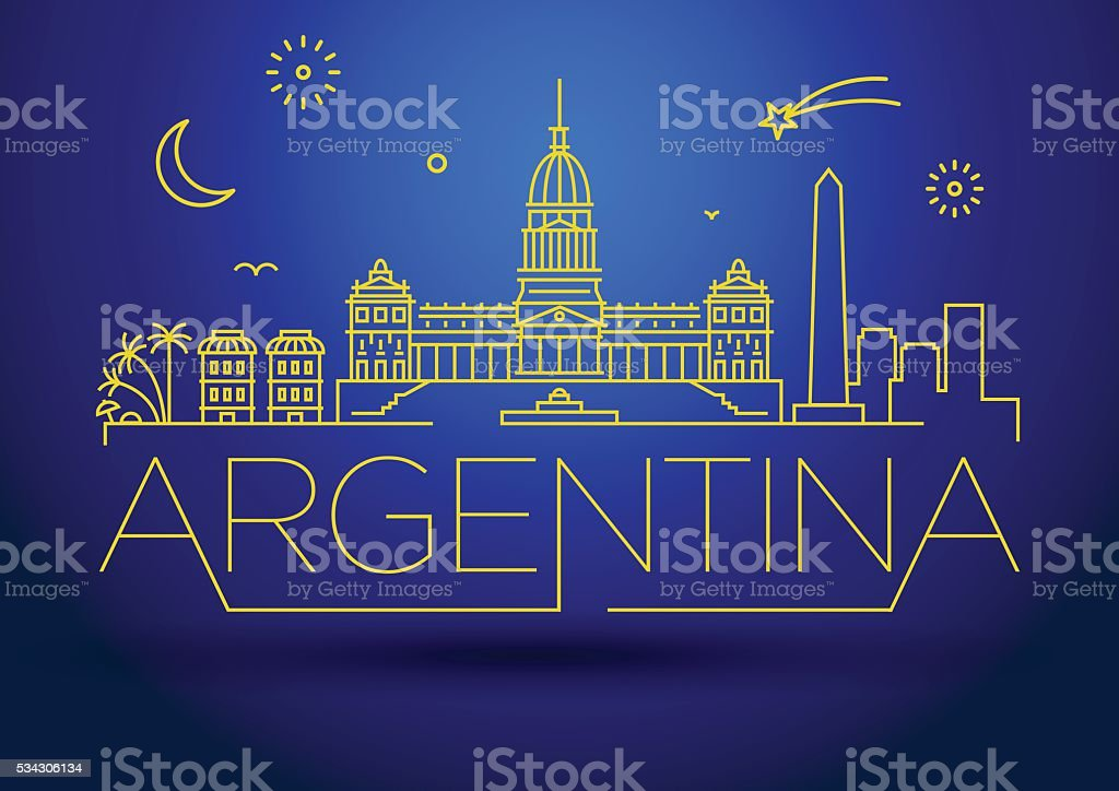 Minimal Argentina Linear Skyline with Typographic Design vector art illustration