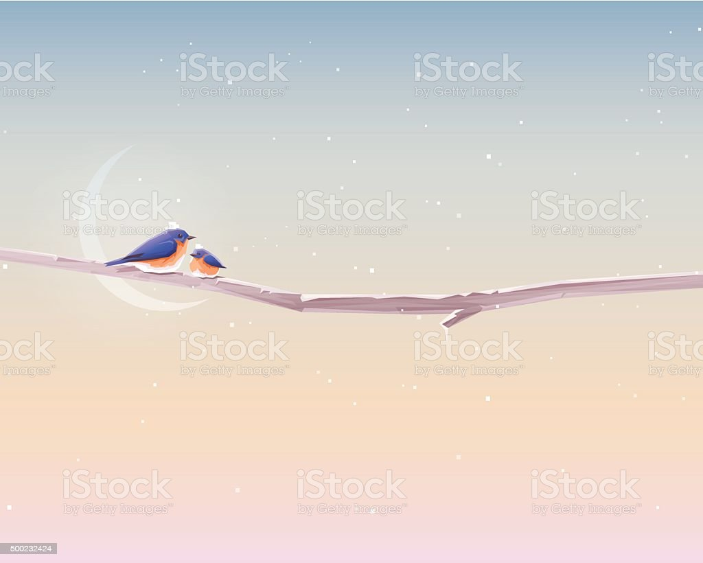 Minimal contemporary christmas wallpaper with two cute bluebirds vector art illustration