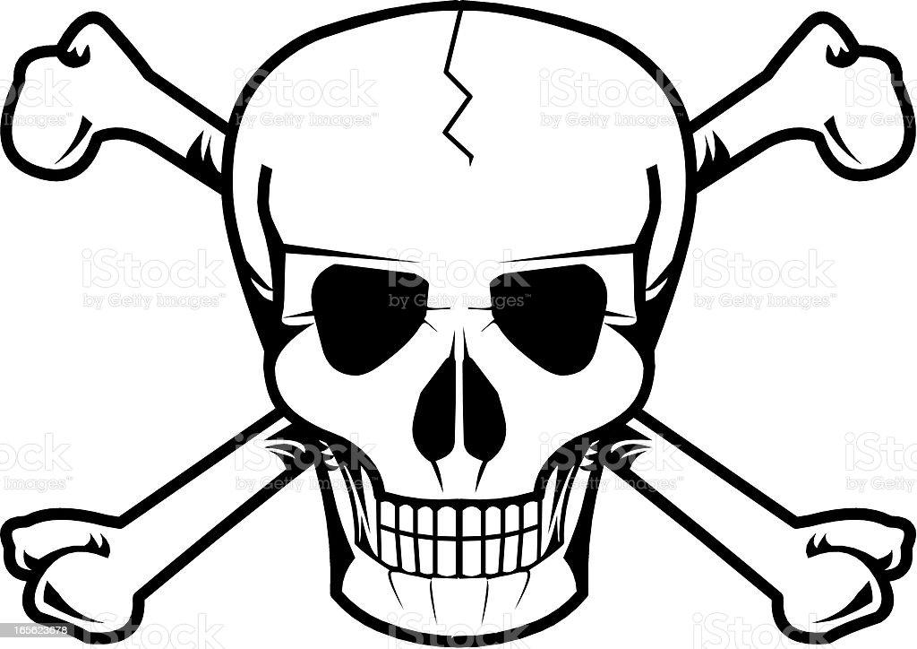 minimal design of skull with bones vector art illustration
