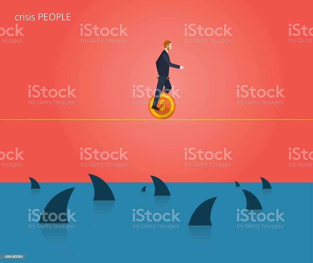 Minimal flat character of business crisis people concept illustrations vector art illustration