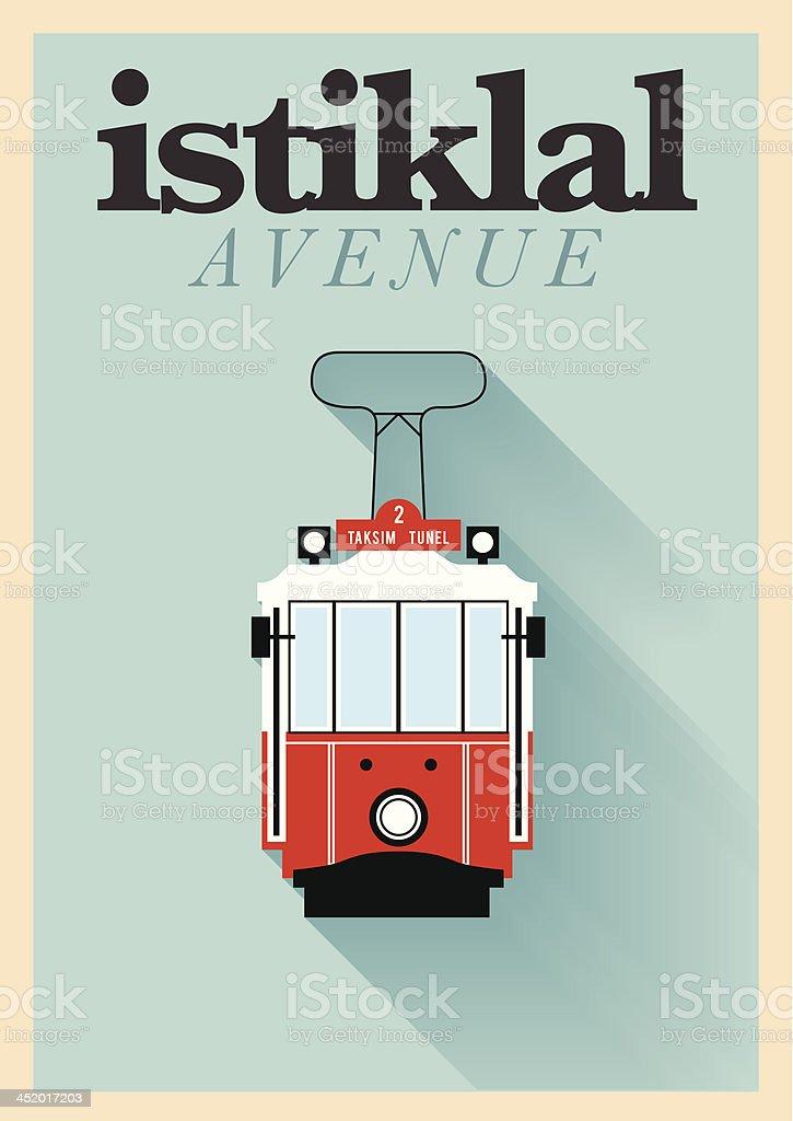 Minimal Istiklal Avenue Poster Design vector art illustration
