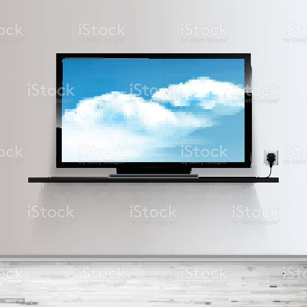 Minimal Room with Tv - Realistic Vector illustration. vector art illustration