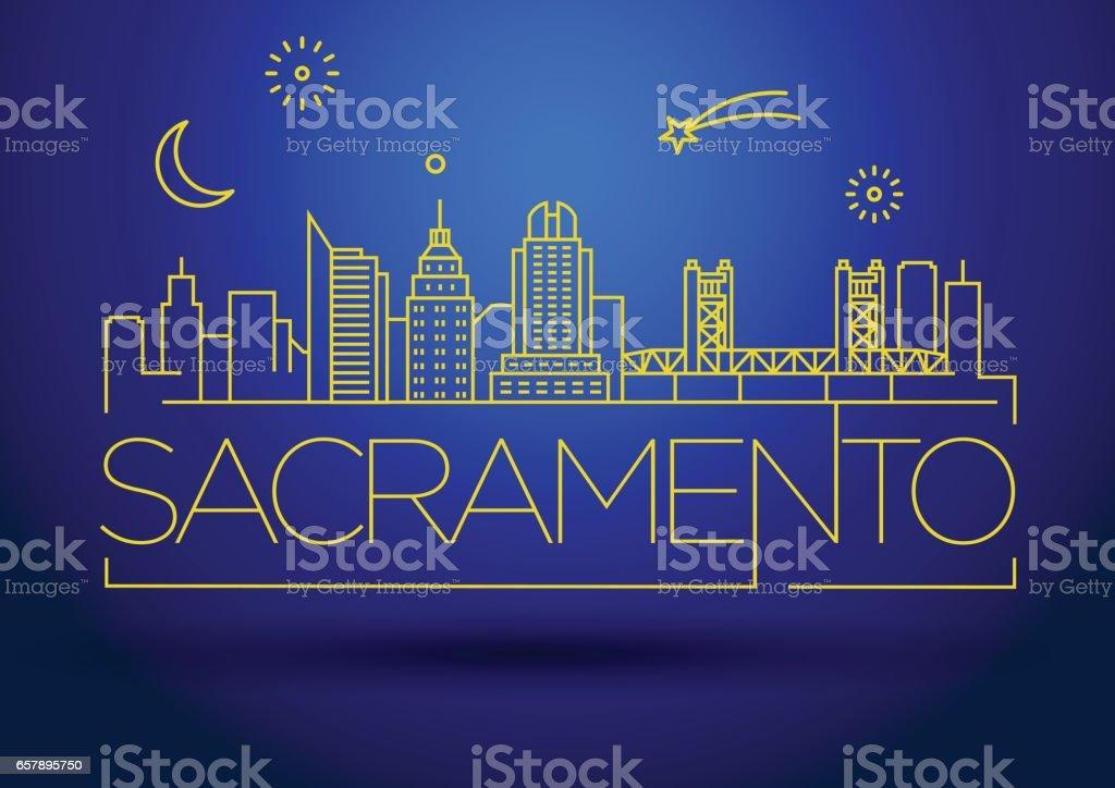 Minimal Sacramento Linear City Skyline with Typographic Design vector art illustration