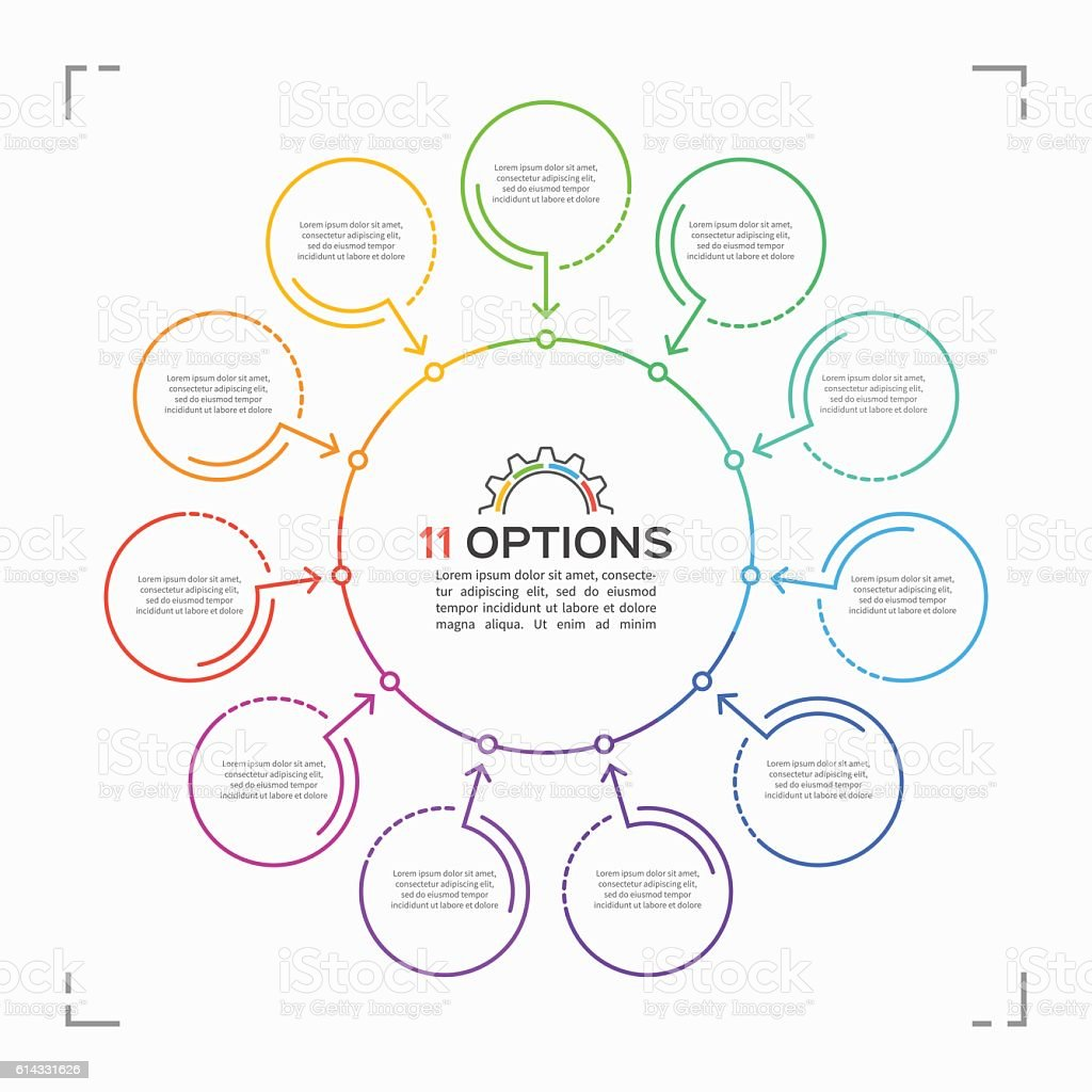 Minimal style circle infographic template with 11 options royalty-free stock vector art