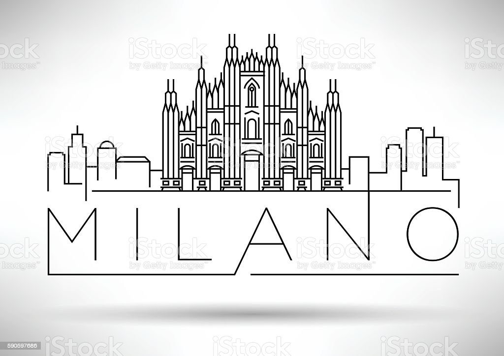 Minimal Vector Milano City Linear Skyline with Typographic Desig vector art illustration