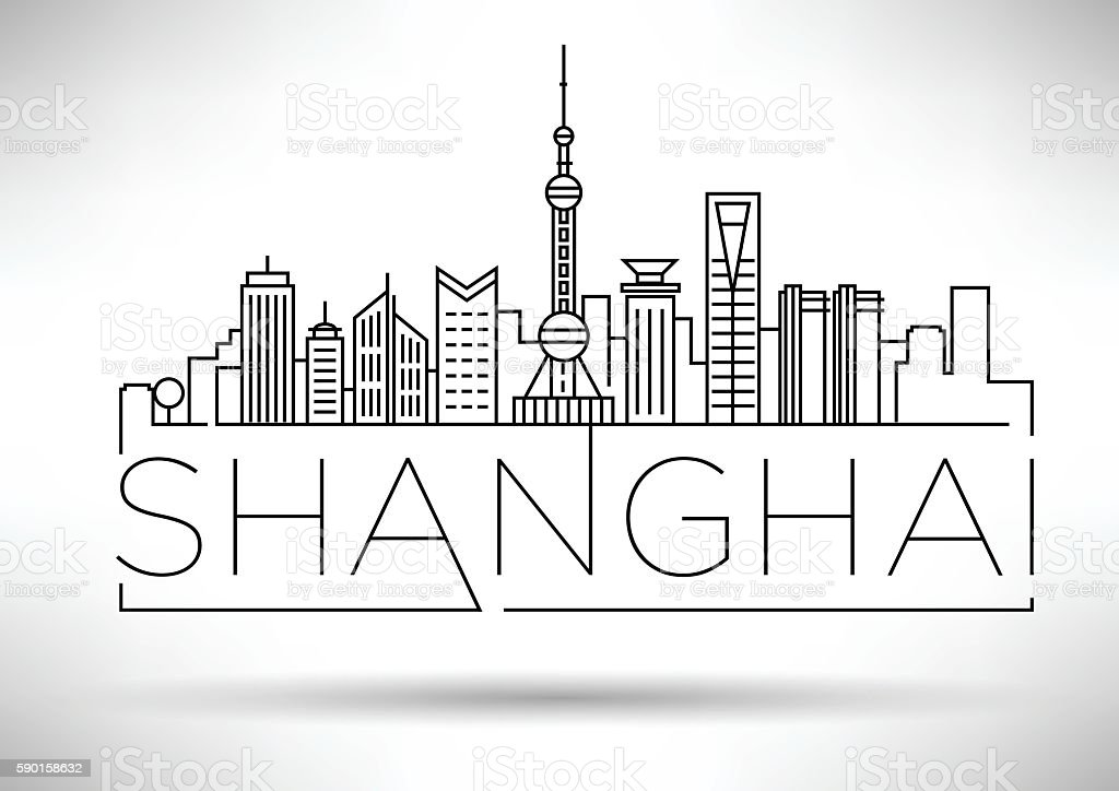 Minimal Vector Shanghai City Linear Skyline with Typographic Des vector art illustration
