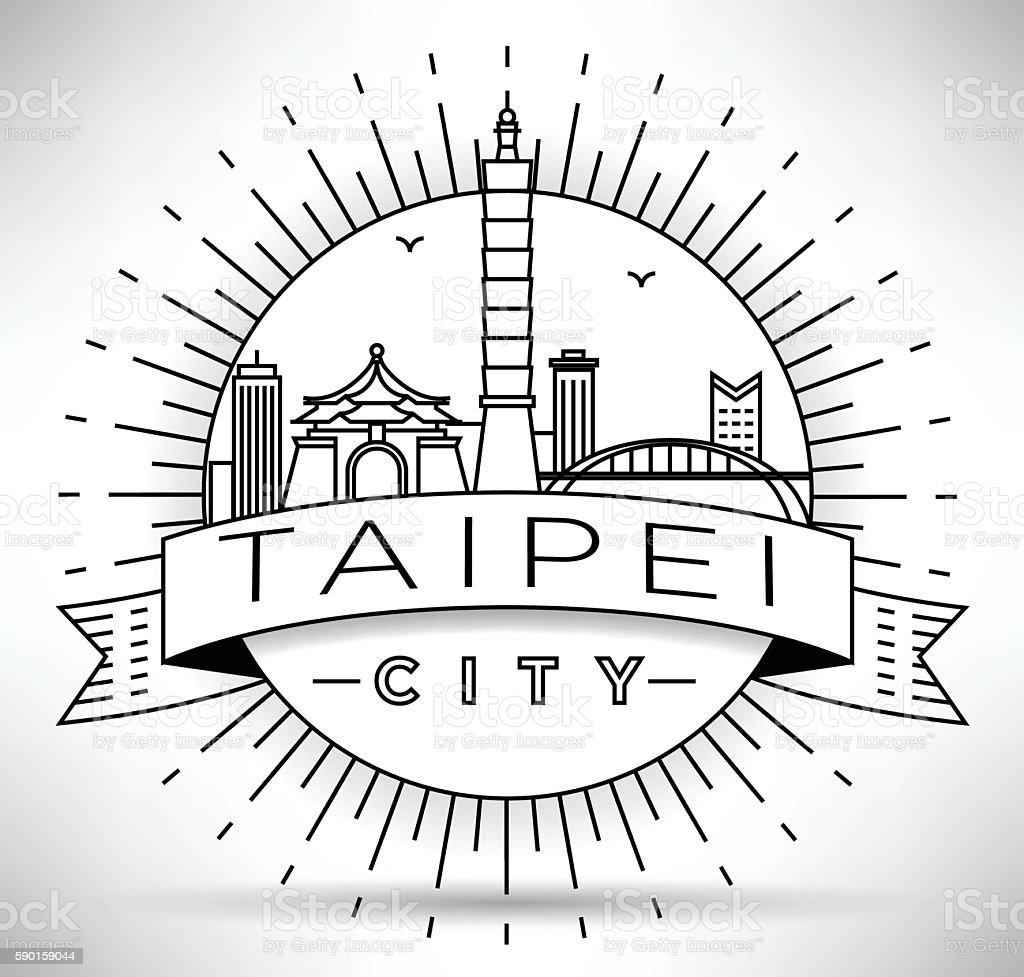 Minimal Vector Taipei City Linear Skyline with Typographic Desig vector art illustration