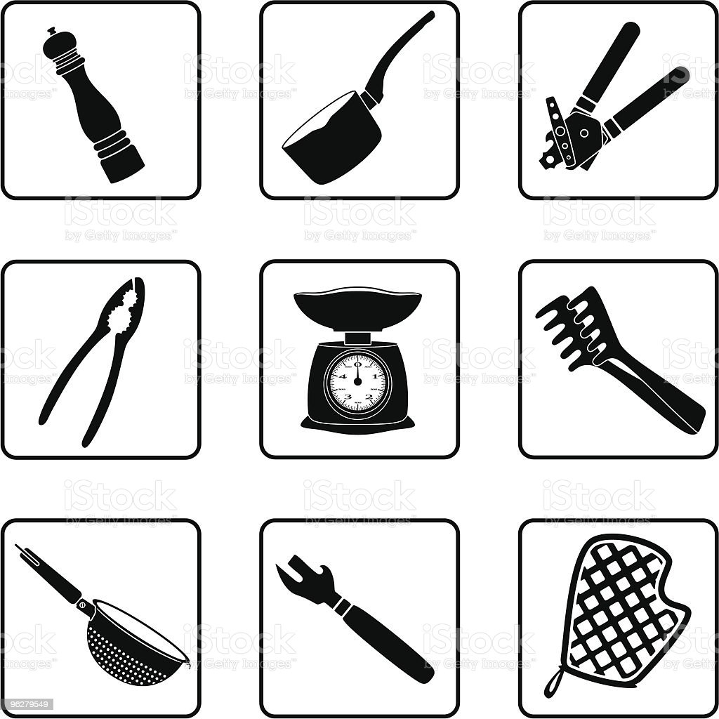 Minimalist black and white icons for kitchen supplies vector art illustration