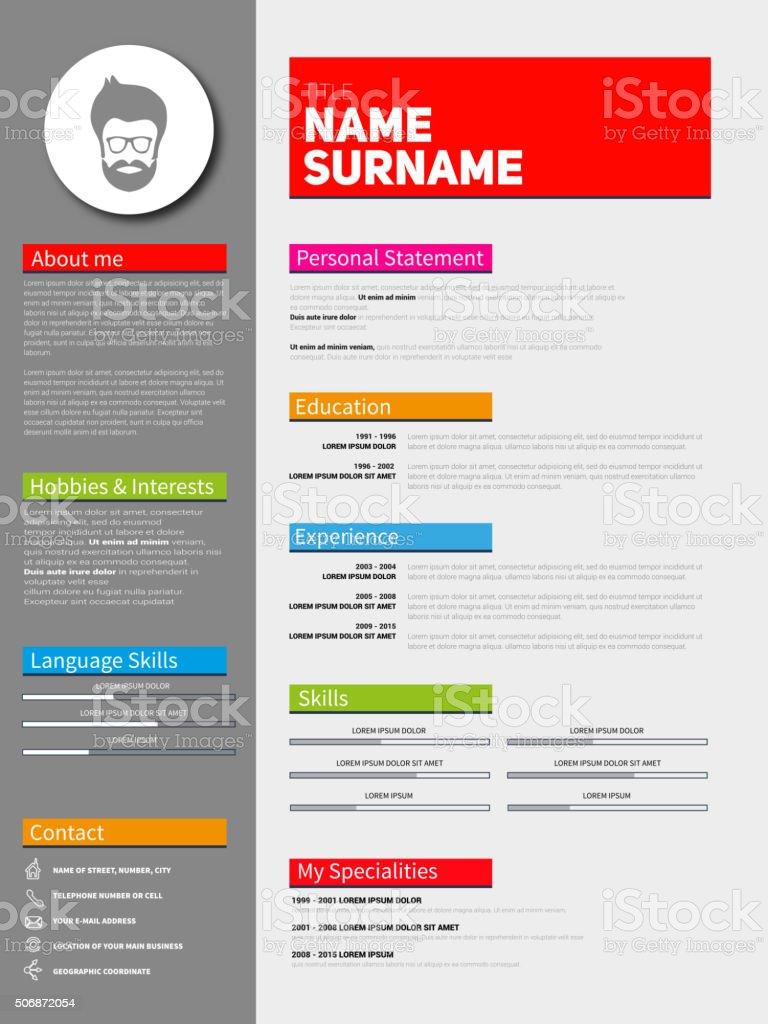 Minimalist CV, resume template vector art illustration