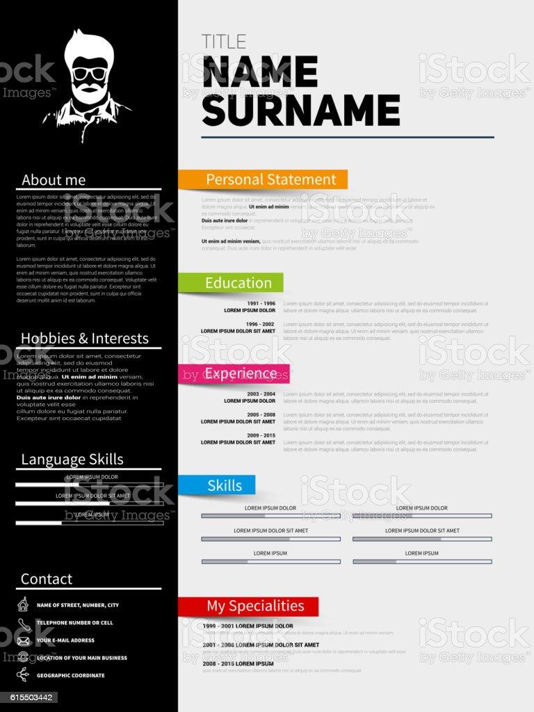 Minimalist CV, Resume template with simple design vector art illustration