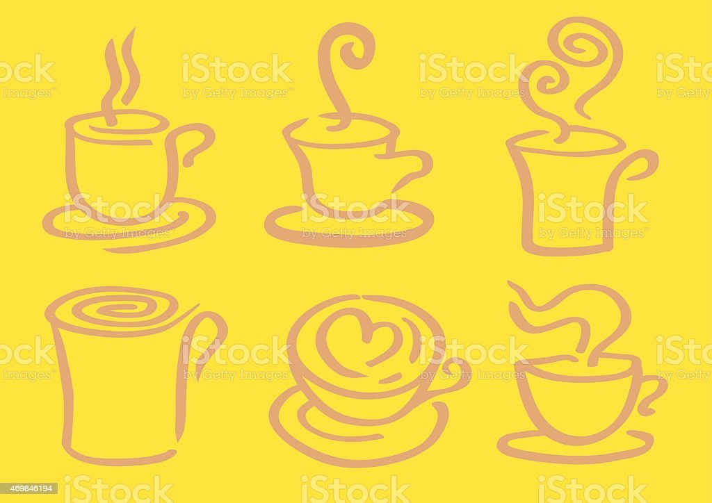 Minimalist Hot Coffee in Cup Vector Design vector art illustration