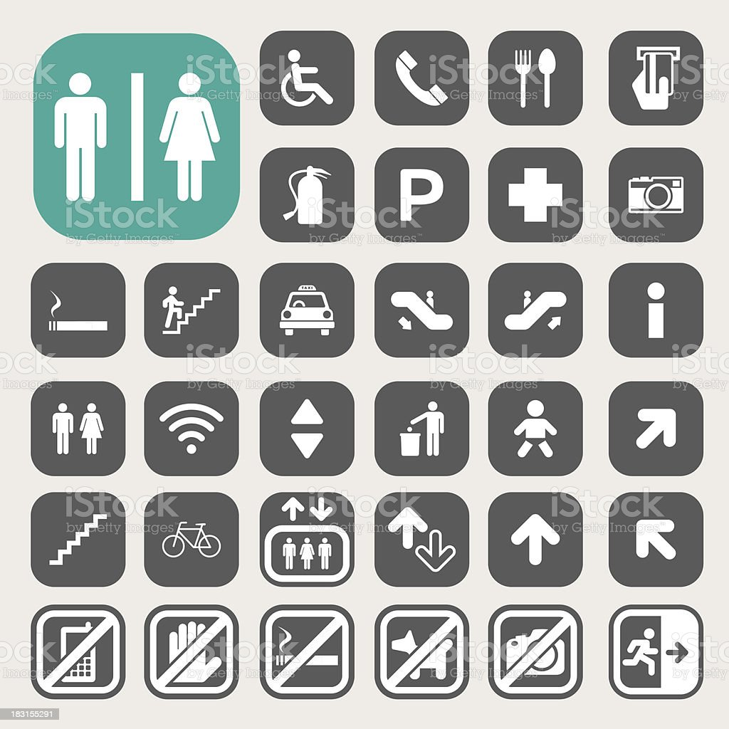 Minimalist icon set for public streets vector art illustration