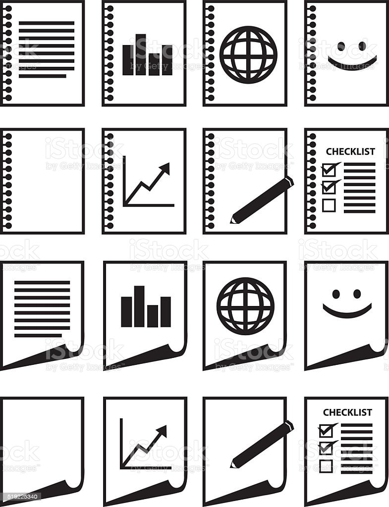 Minimalist Paper Vector Icon Set in Black and White vector art illustration