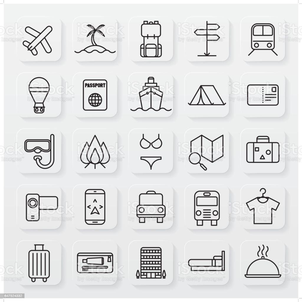 minimalist travel line icon set vector art illustration