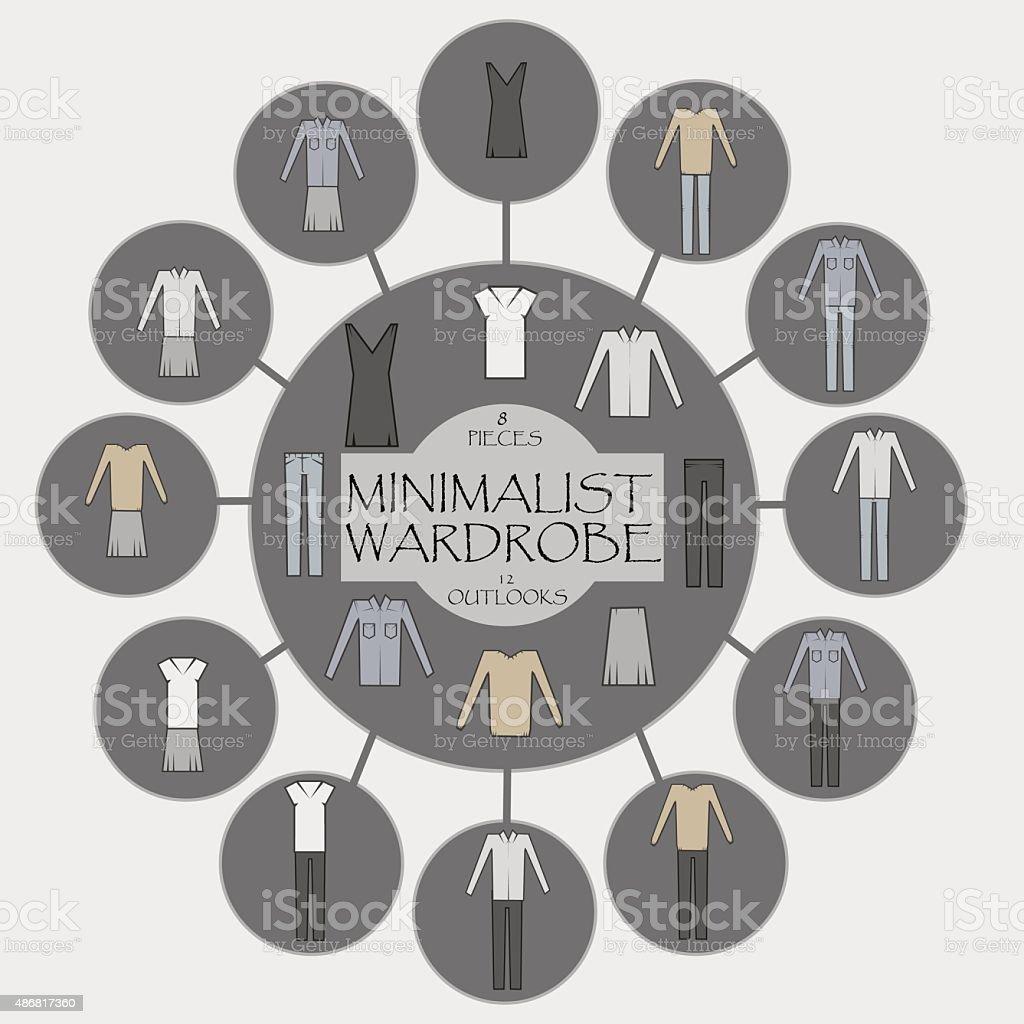 Minimalist wardrobe vector info graphic. vector art illustration