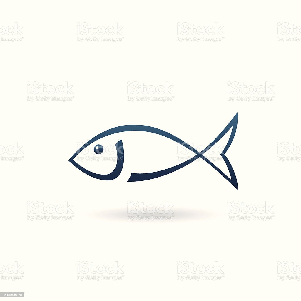 Minimalistic fish icon vector art illustration