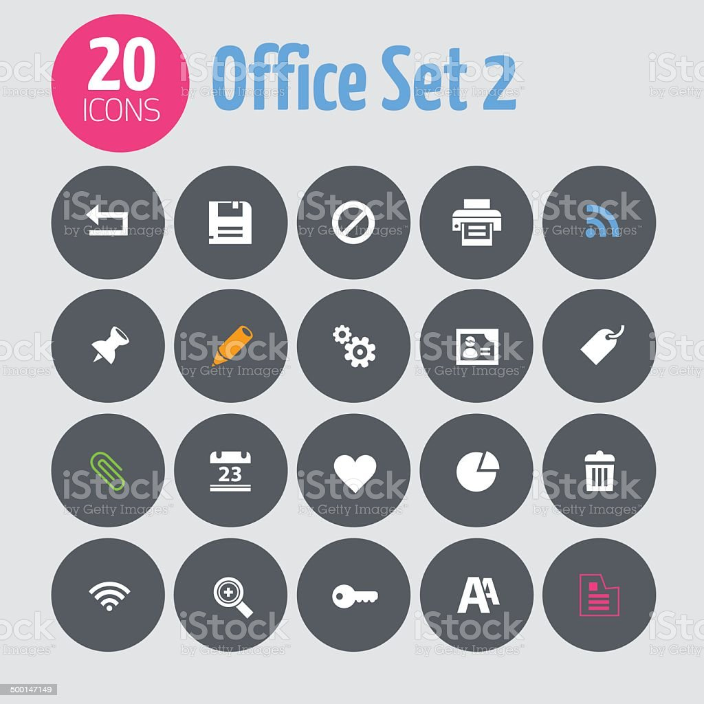Minimalistic office set 2 icons, on dark gray circles royalty-free stock vector art