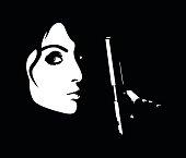 Minimalistic profile of young dangerous woman holding handgun
