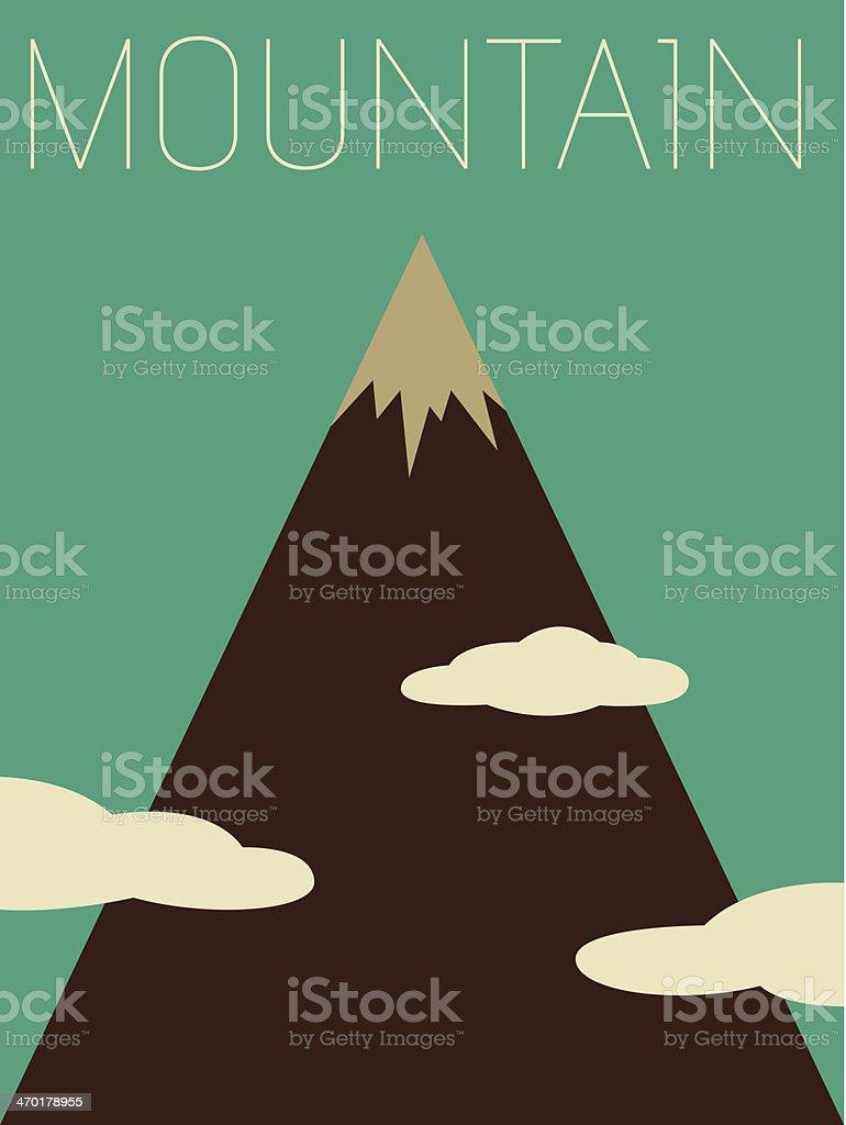 Minimalistic retro vector illustration of a mountain royalty-free stock vector art