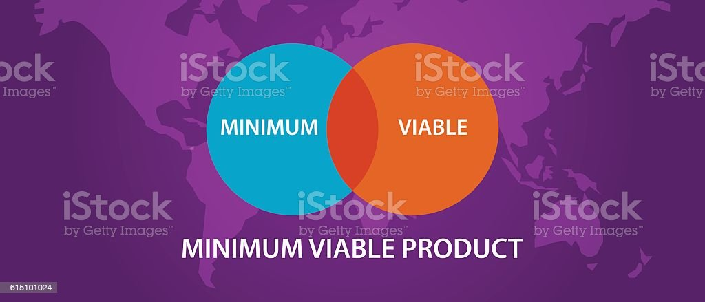 minimum viable product MVP circle intersection diagram process vector art illustration