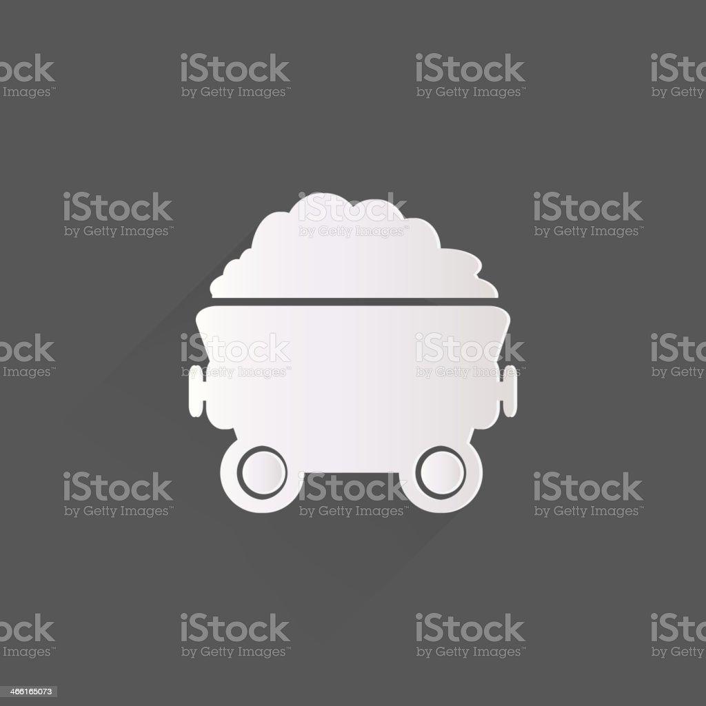 Mining coal cart icon vector art illustration