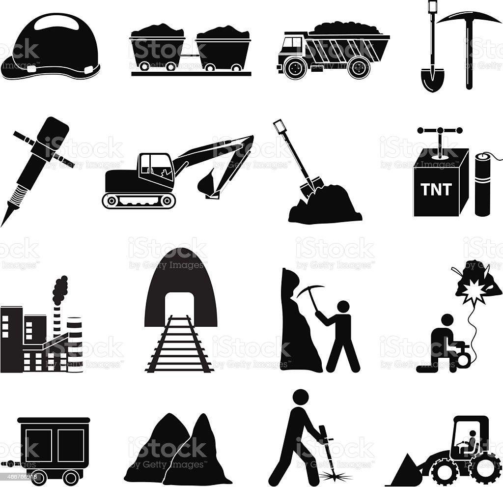 mining construction icons set vector art illustration