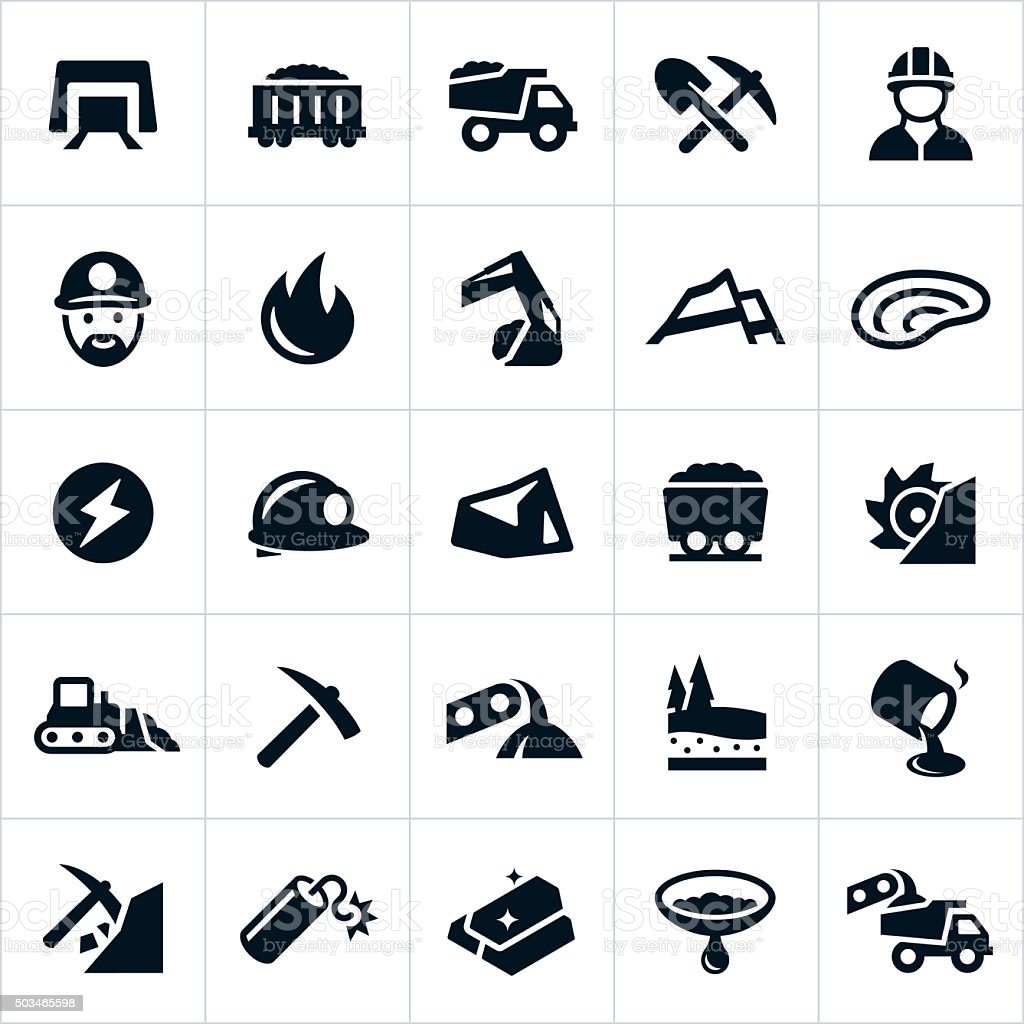 Mining Icons vector art illustration