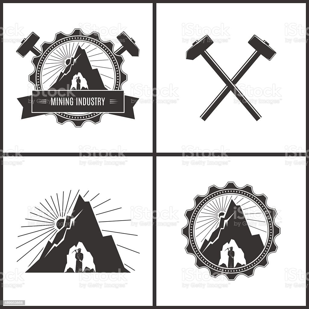 Mining Industry, Label or Badge vector art illustration