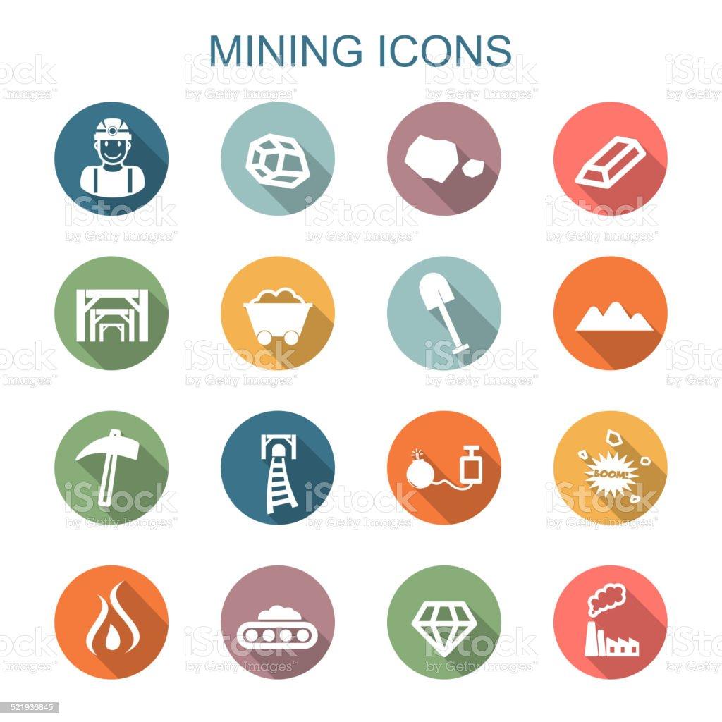 mining long shadow icons vector art illustration