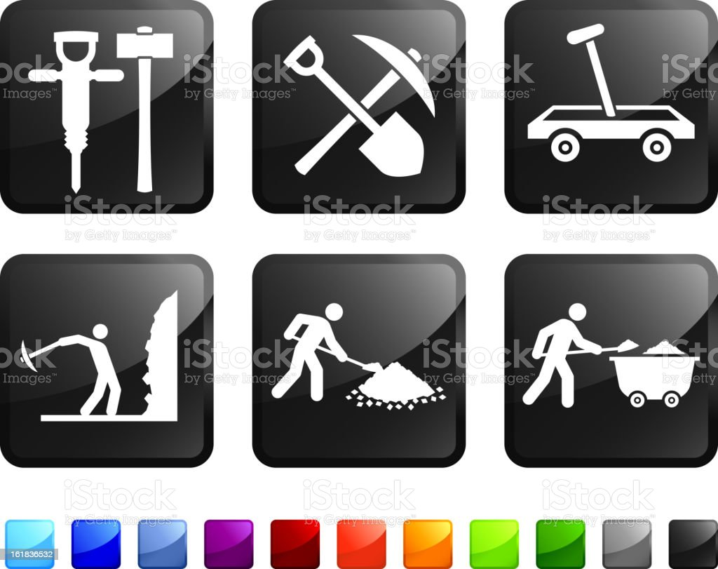 Mining Tools and Miners royalty free vector icon set stickers royalty-free stock vector art